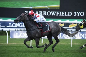Classique Legend, above, scores a dominant win in the 2019 Arrowfield 3yo Sprint at Randwick. Photo by Steve Hart.