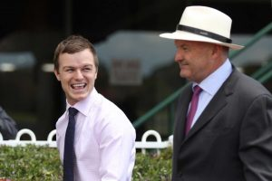The Lindsay Park co-trainer Ben Hayes, in pink shirt, is keen on the prospects of Aysar. Photo By: Ultimate Racing Photos